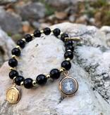 St Benedict Black Charm Bracelet