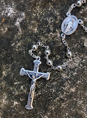 5mm Silver Rosary