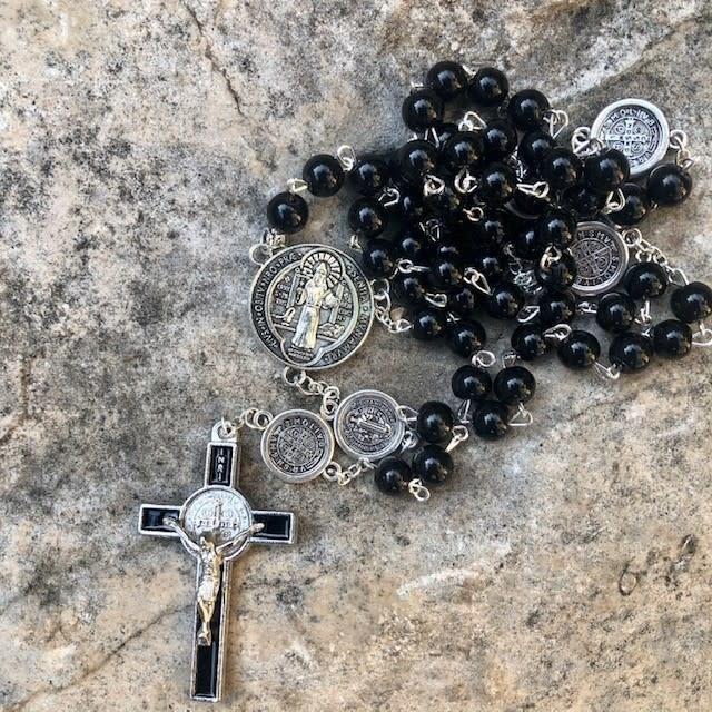 Black Onyx Bead Benedict Rosary