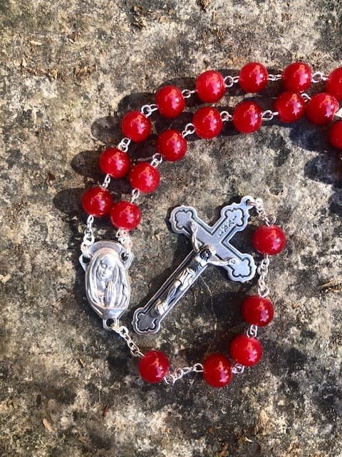 Red 8mm Round Bead Rosary