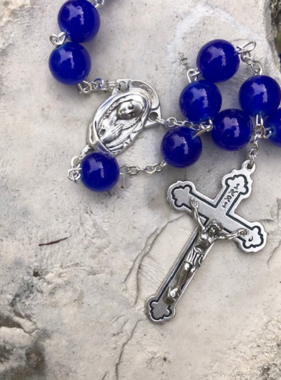 10mm Royal Blue Round Bead Rosary