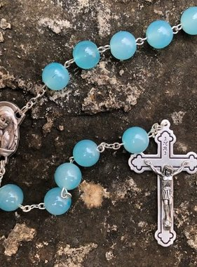 10mm Aqua Round Bead Rosary