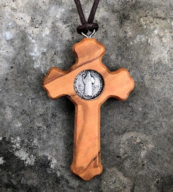 St Benedict Olive Wood Crucifix w/cord