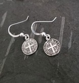 Large St Benedict Sterling Silver Earrings