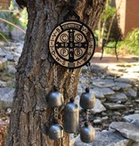 St Benedict Wooden Door Hanger w/Bells