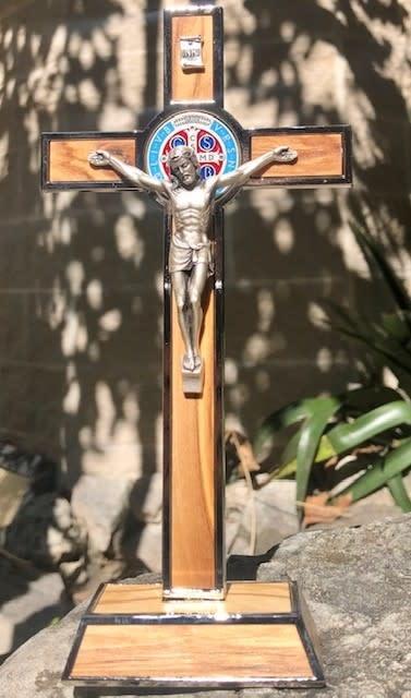 "8"" St Benedict Olive Wood Standing Crucifix"