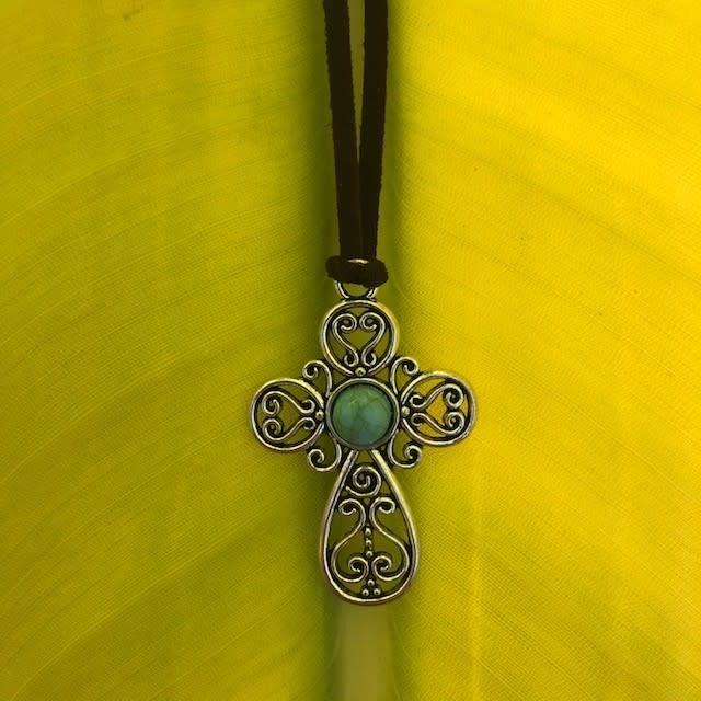 Turquoise Cross Pendant w/cording