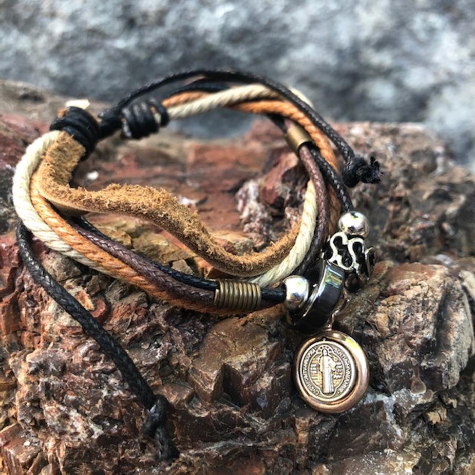 St Benedict Leather Cord Bracelet