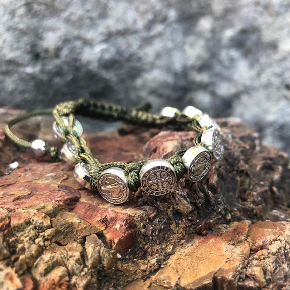 St Benedict Olive Green Corded Medals Bracelet