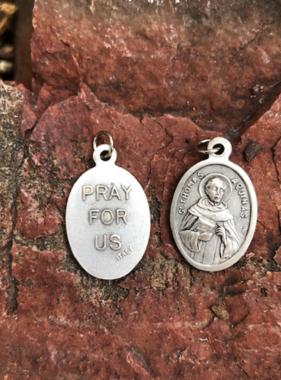 St Thomas Aquinas Oxidized Medal