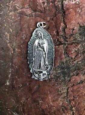 "2"" Guadalupe Oxidized Metal Pendant"