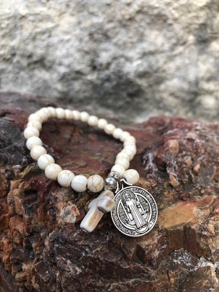St Benedict Ivory Stone Bracelet