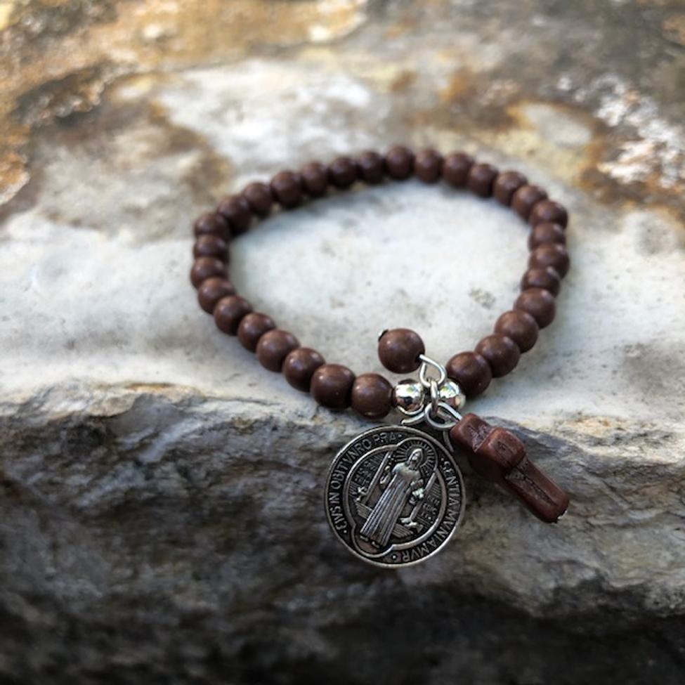 St Benedict Brown Stone Bracelet
