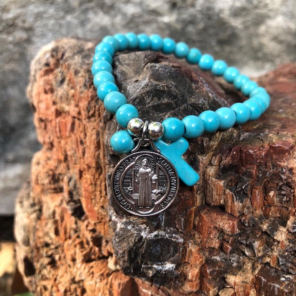 St Benedict Turquoise Stone Bracelet