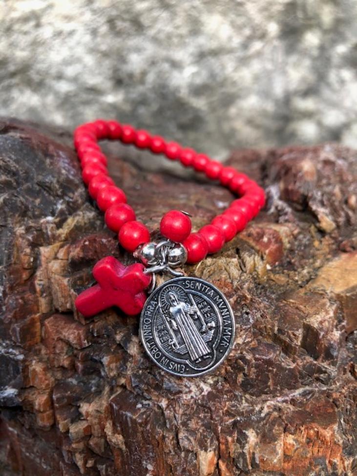 St Benedict Red Stone Bracelet