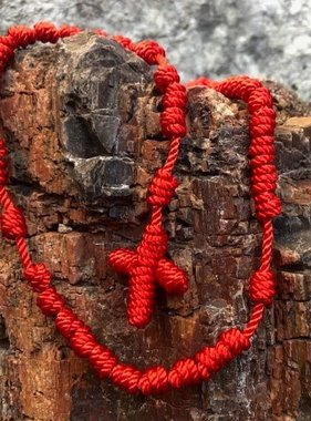 Red Knotted Cord Rosary