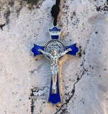 St Benedict Blue Enamel Pendant