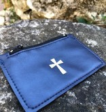 Navy Leather Zippered Rosary Bag