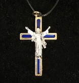 Navy Risen Christ Pendant w/Cord