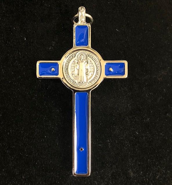 "3"" Blue Enamel St Benedict Boxed Crucifix"