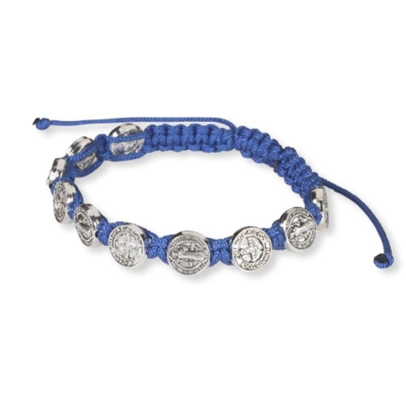 St Benedict Medals Blue Cord Bracelet