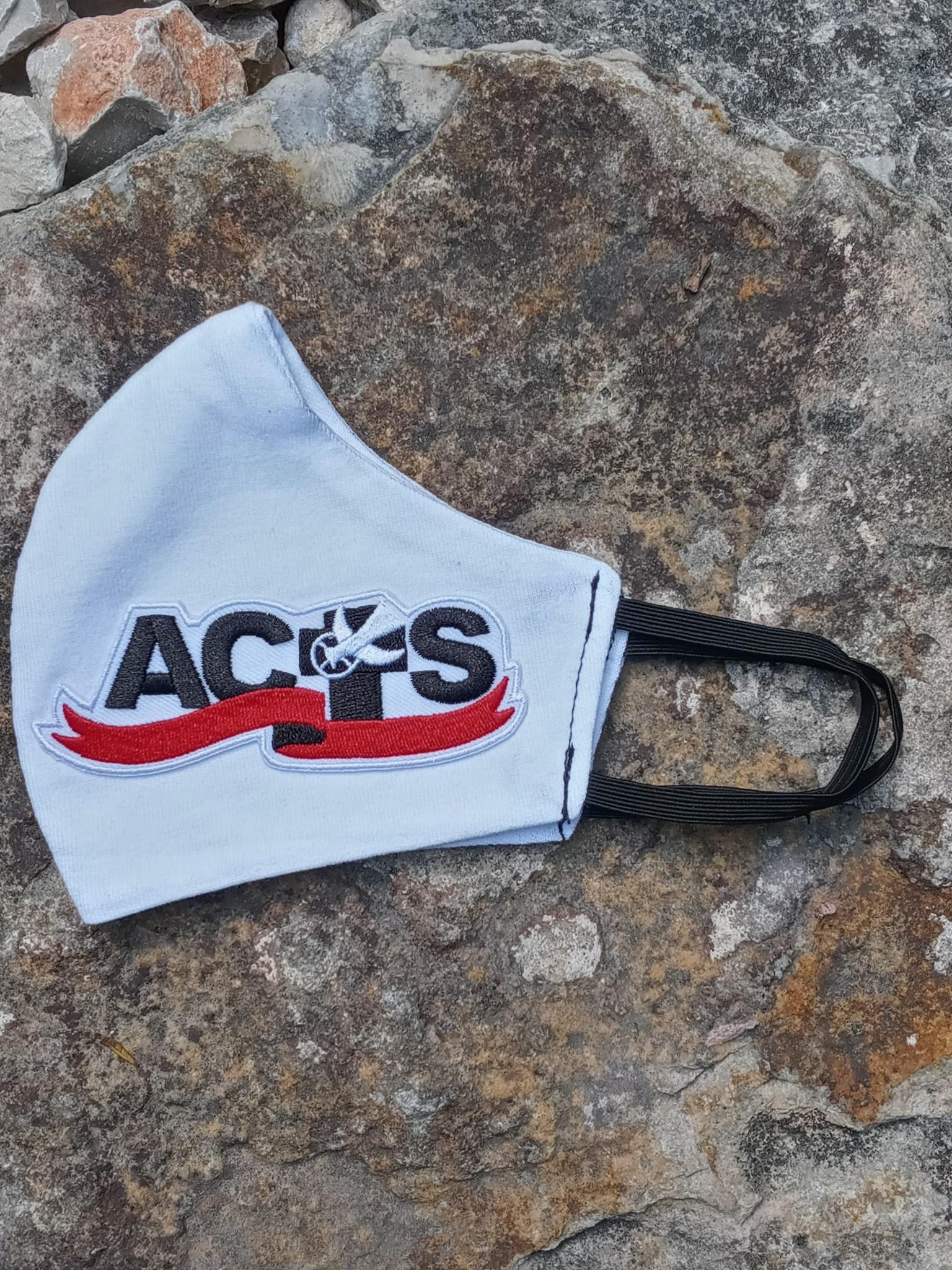 White ACTS Ribbon Logo Face Mask