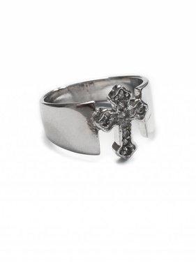 Crystal Cross SS Ring