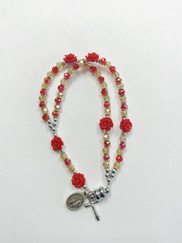 St. Michael Rose Rosary Bracelet