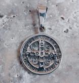 "3/4"" St Benedict Medal Sterling Silver Pendant"