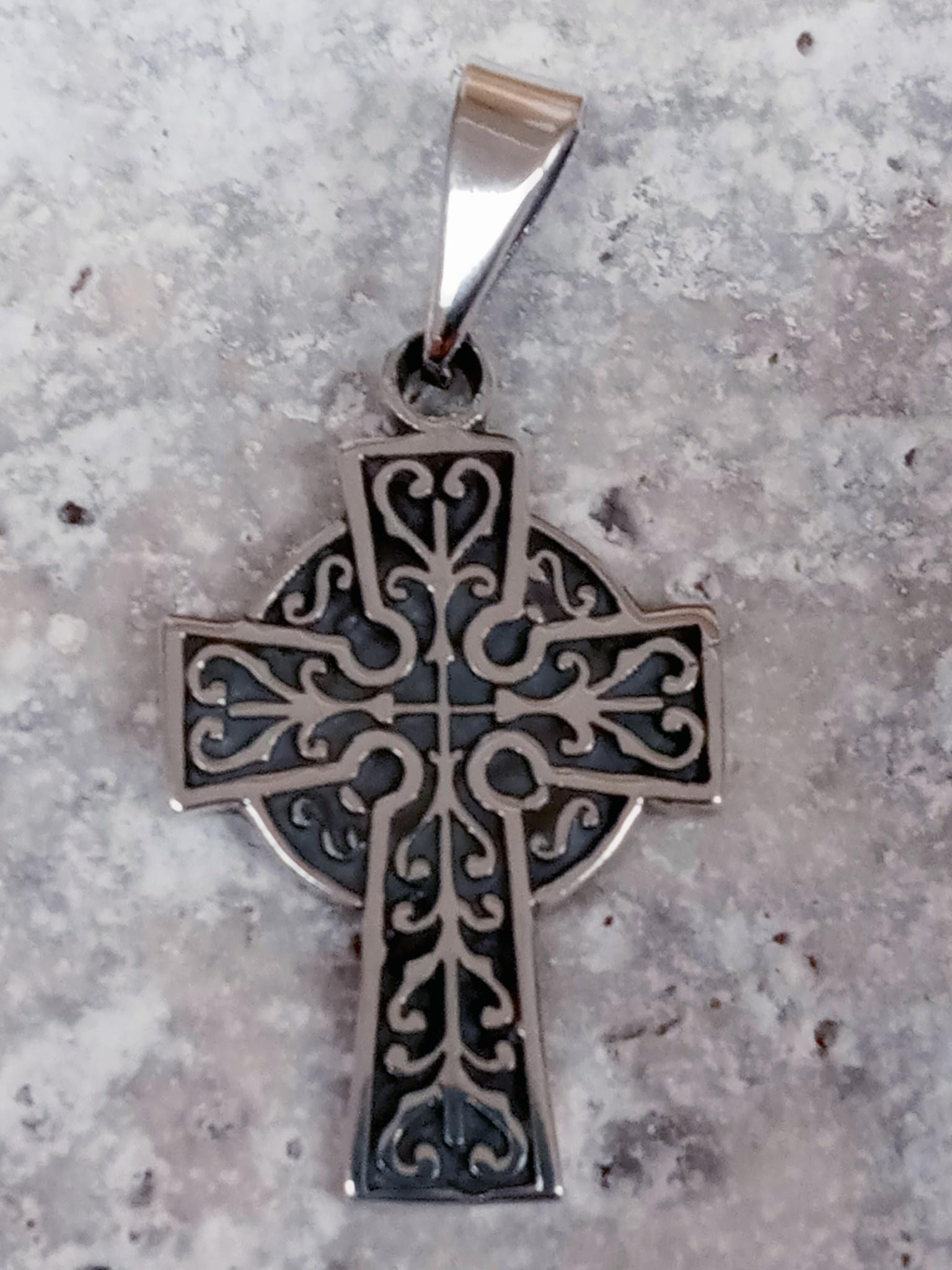 """1"""" Sterling Silver Celtic Cross Pendant"""