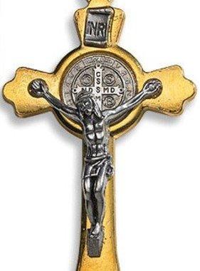 "3"" Gold Tone St. Benedict Cross Pendant"