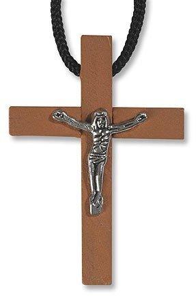 Wood Crucifix Pendant w/Cord