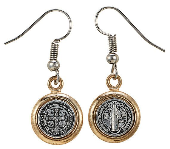 St. Benedict Two-Tone Medal Earrings