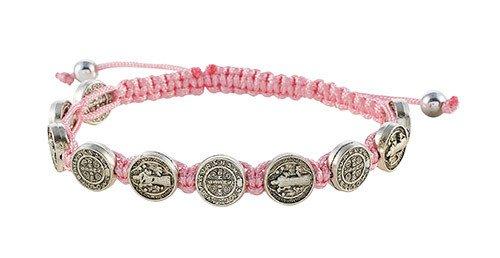St. Benedict Medals Pink Cord Bracelet