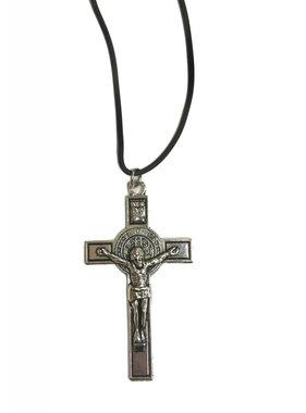 "2 3/4"" St. Ben Silver Pendant w/Rubber Cord"