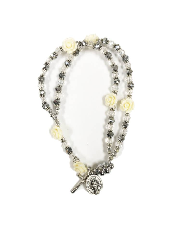 Miraculous Mother White Rose Rosary Bracelet