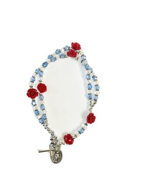 Miraculous Mother Red Rose Rosary Bracelet