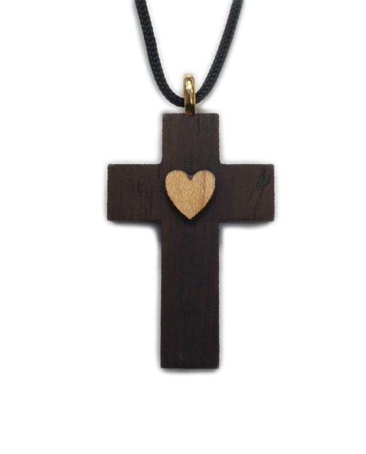 Raised Heart Wood Cross w/Cord