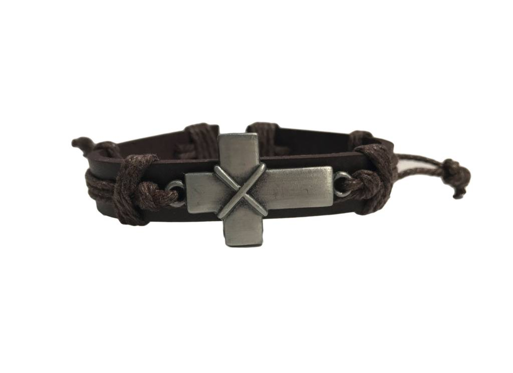 Brown Leather Cross Bracelet