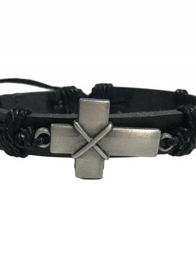 Black Leather Cross Bracelet