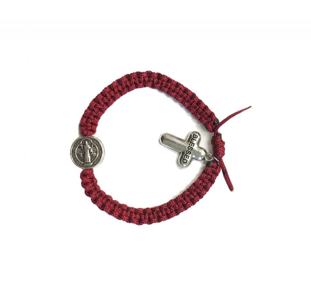Red Blessed St. Benedict Cord Bracelet