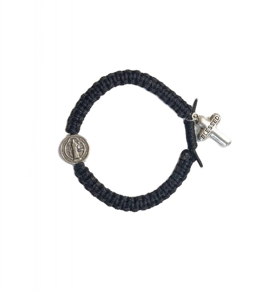 Black Blessed St. Benedict Cord Bracelet