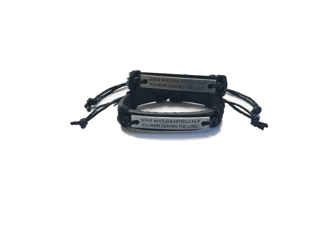 Serve Wholeheartedly Leather Bracelet