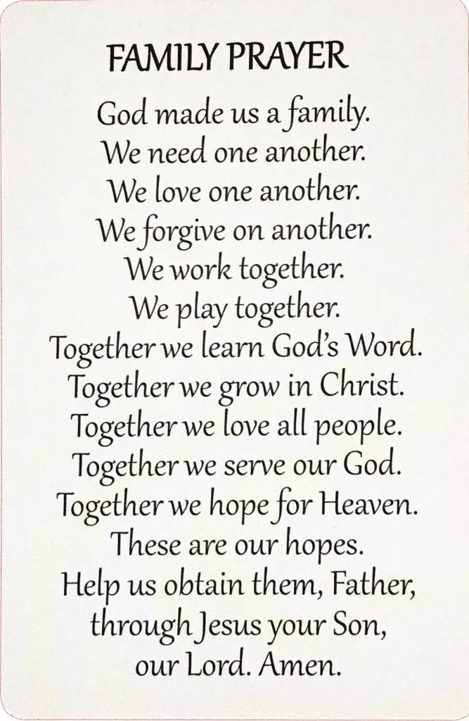 Family Wallet Prayer Card The Acts Mission Store
