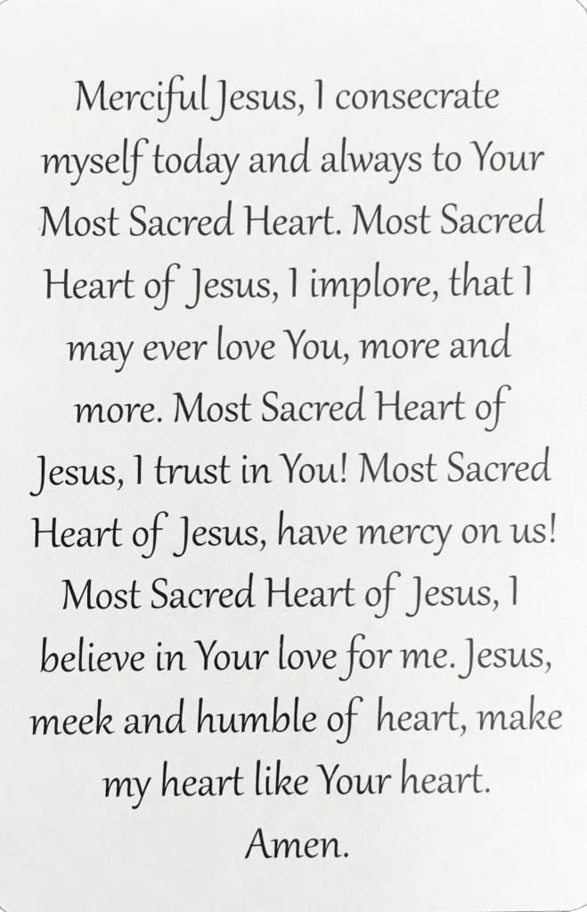 Sacred Heart of Jesus Wallet Prayer Card