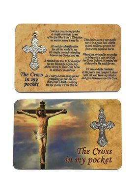 Cross In My Pocket Prayer Card w/Crucifix