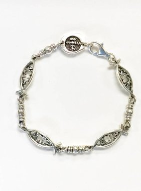 Large ACTS Ichthus Link SS Bracelet 7.5