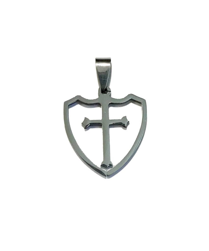 Stainless Steel Shield w/Cross Pendant