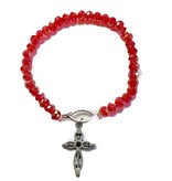 Red Glass Bead Ichthus Bracelet