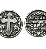 With God All Things Are Possible Pewter Pocket Token